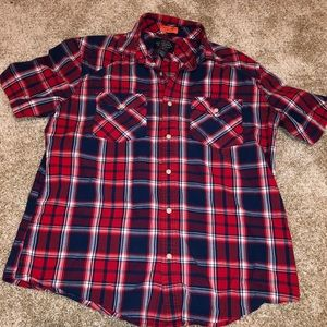 St. John's Bay Red and Blue Plaid Button Down